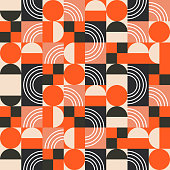 Geometric pattern in bright color blocks. Seamless vector abstract red and black shapes retro background.