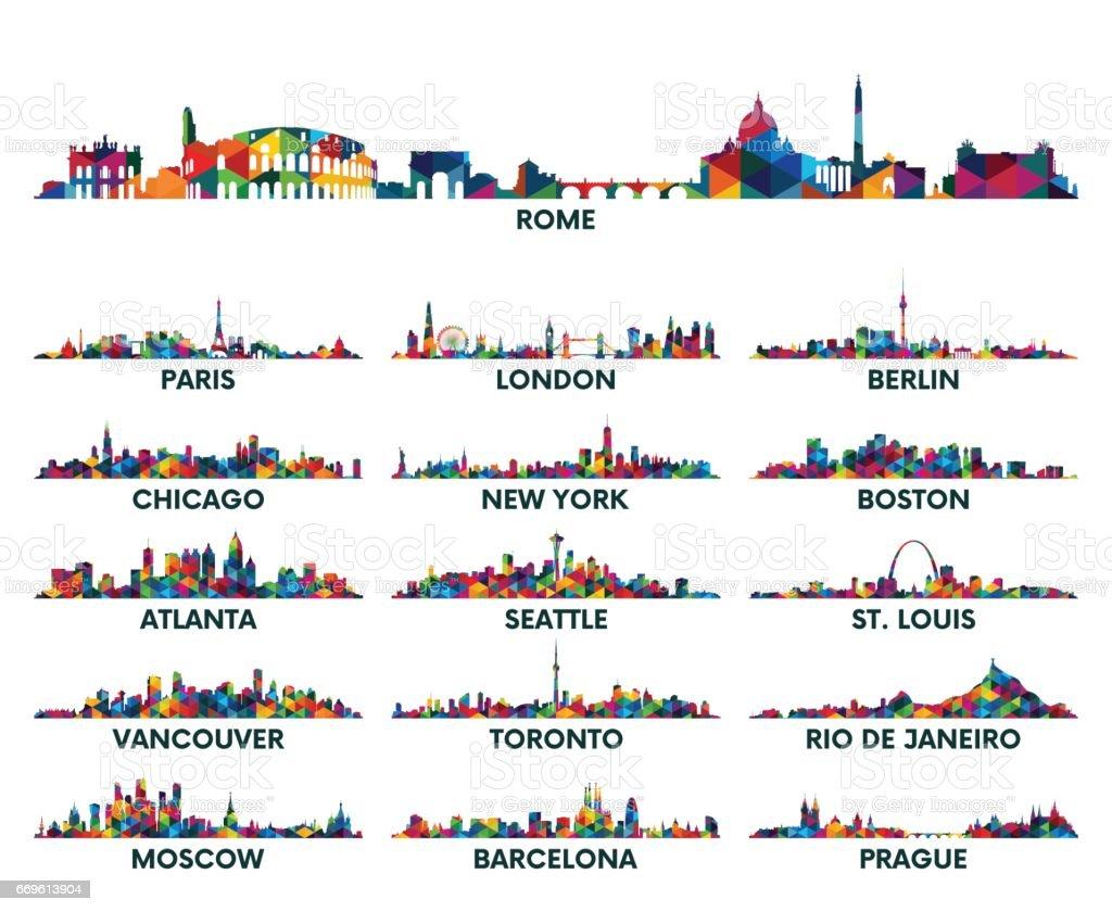 Geometric pattern skyline city America and Europe vector art illustration