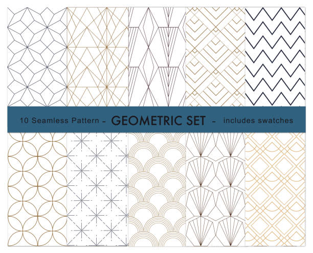 10 geometric pattern - бесшовный узор stock illustrations
