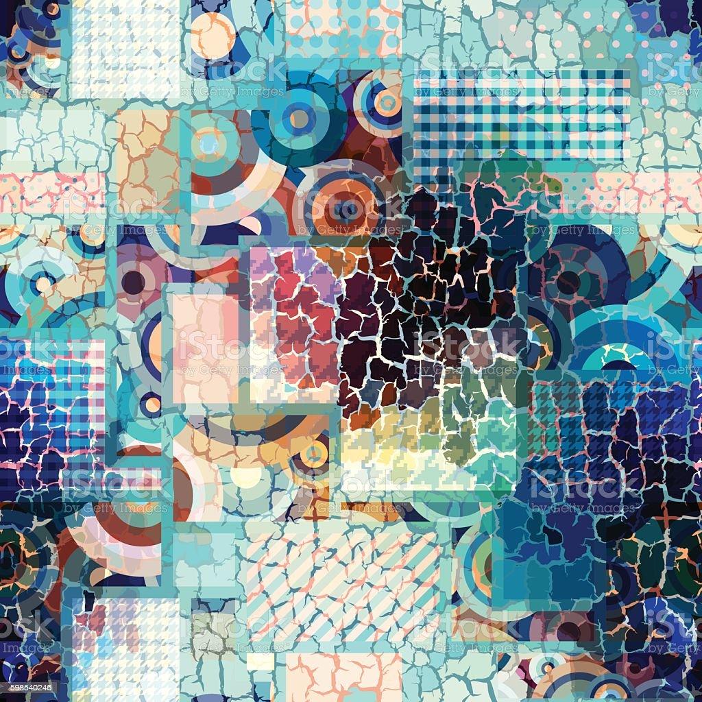 Geometric pattern with grunge effect. geometric pattern with grunge effect – cliparts vectoriels et plus d'images de bleu libre de droits