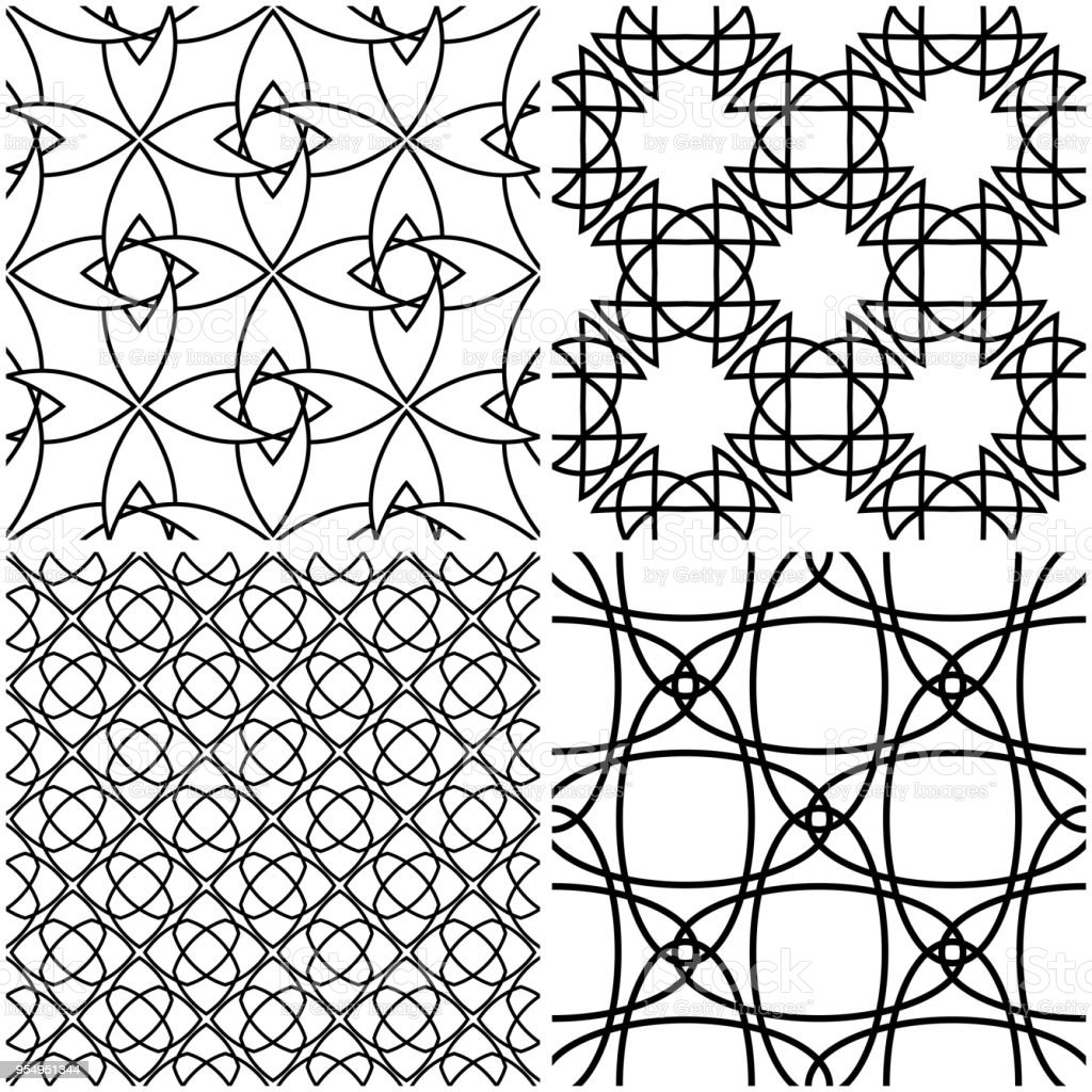Geometric Patterns Black Elements On White Backgrounds Stock Vector