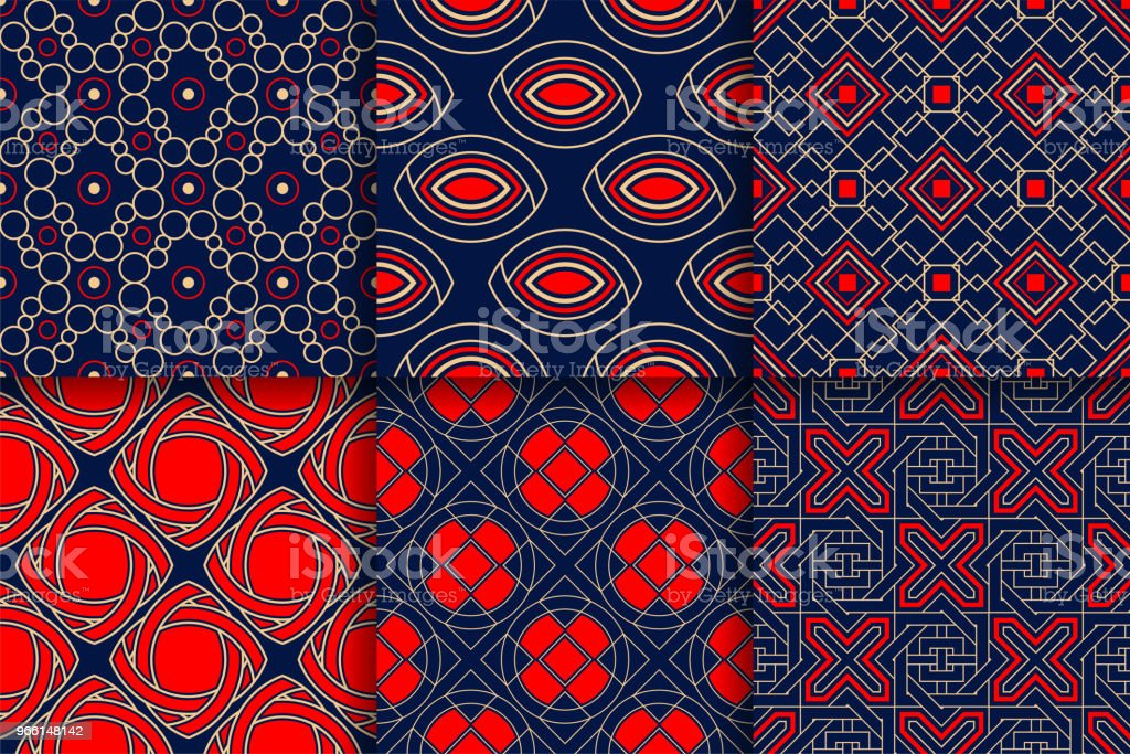 Geometric Patterns. Collection of colored seamless backgrounds - Royalty-free Abstract stock vector