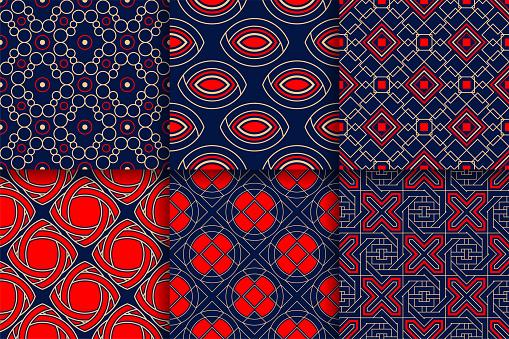 Geometrische Patronen Collectie Van Gekleurde Naadloze Achtergronden Stockvectorkunst en meer beelden van Abstract