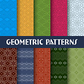 Vector Illustration 10 Color Geometric Seamless Patterns.
