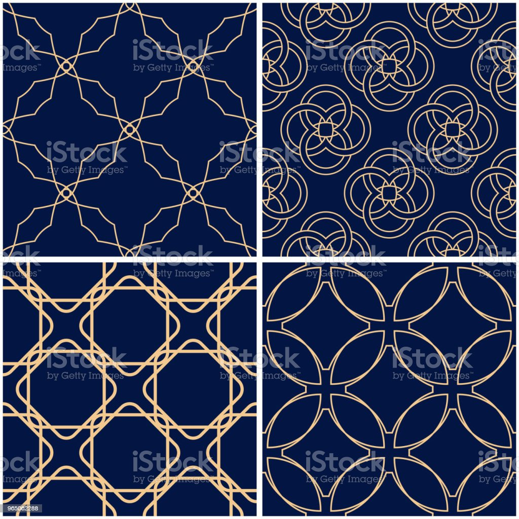 Geometric patterns. Set of golden blue seamless backgrounds royalty-free geometric patterns set of golden blue seamless backgrounds stock vector art & more images of abstract