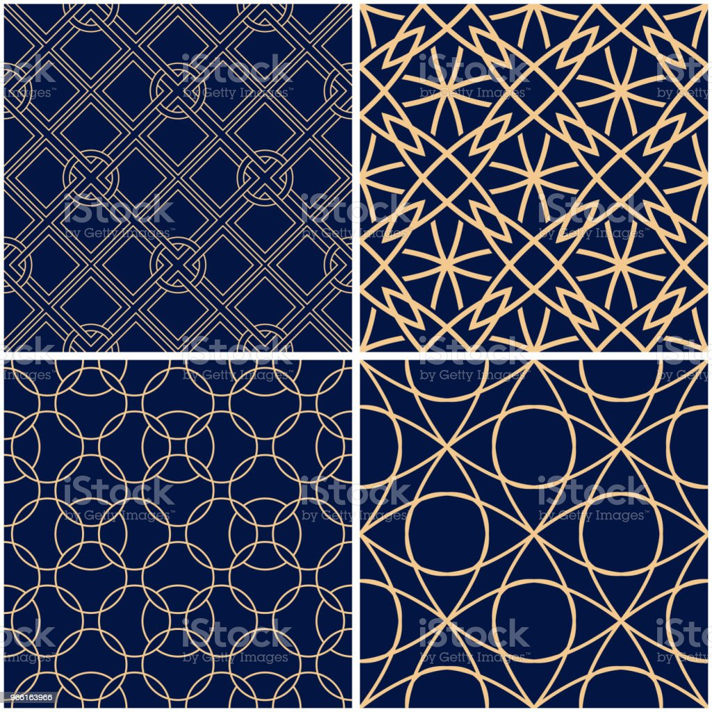 Geometric patterns. Set of golden blue seamless backgrounds - Royalty-free Abstrato arte vetorial