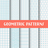 Vector illustration 10 line Geometric seamless patterns.