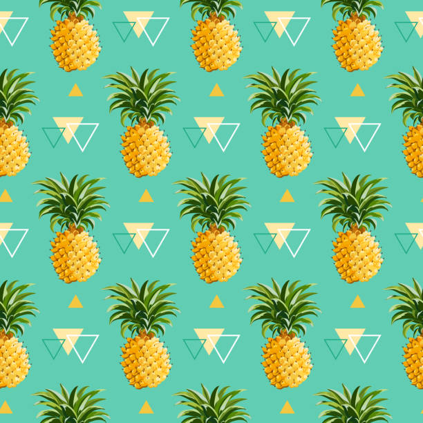 illustrazioni stock, clip art, cartoni animati e icone di tendenza di sfondo geometrico-modello senza soluzione di continuità con ananas - ananas
