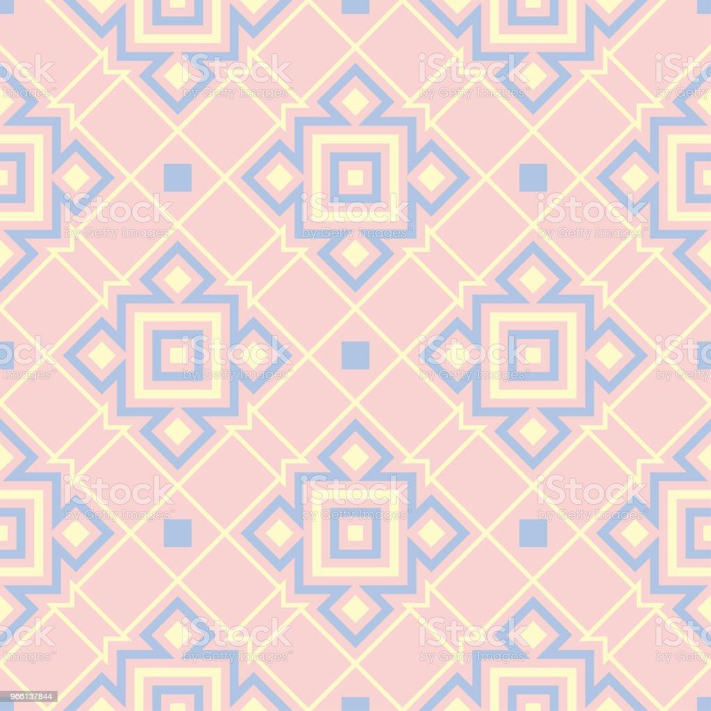 Geometriska rosa färgade sömlösa mönster med blå och beige inslag - Royaltyfri Abstrakt vektorgrafik