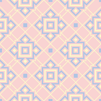 Geometric Pink Colored Seamless Pattern With Blue And Beige Elements Stock Illustration - Download Image Now