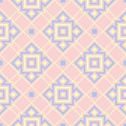 Geometriska Rosa Färgade Sömlösa Mönster Med Blå Och Beige Inslag-vektorgrafik och fler bilder på Abstrakt