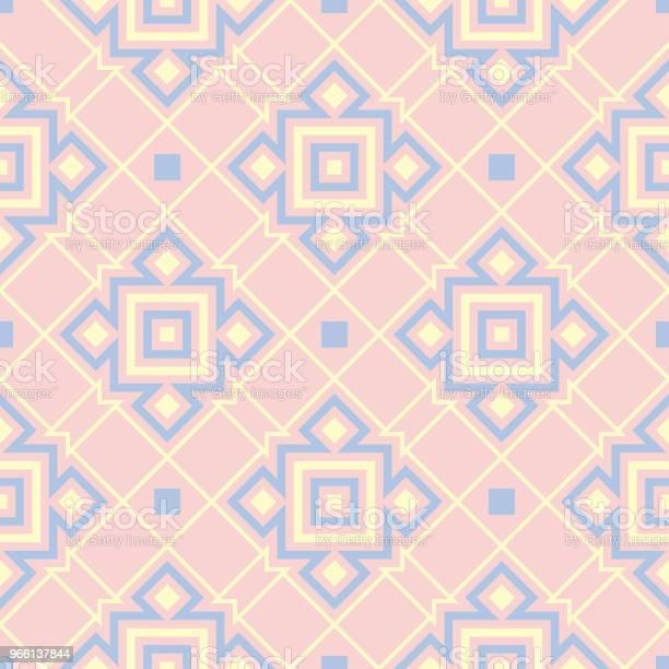 Motivo Geometrico Color Rosa Senza Cuciture Con Elementi Blu E Beige - Immagini vettoriali stock e altre immagini di Astratto