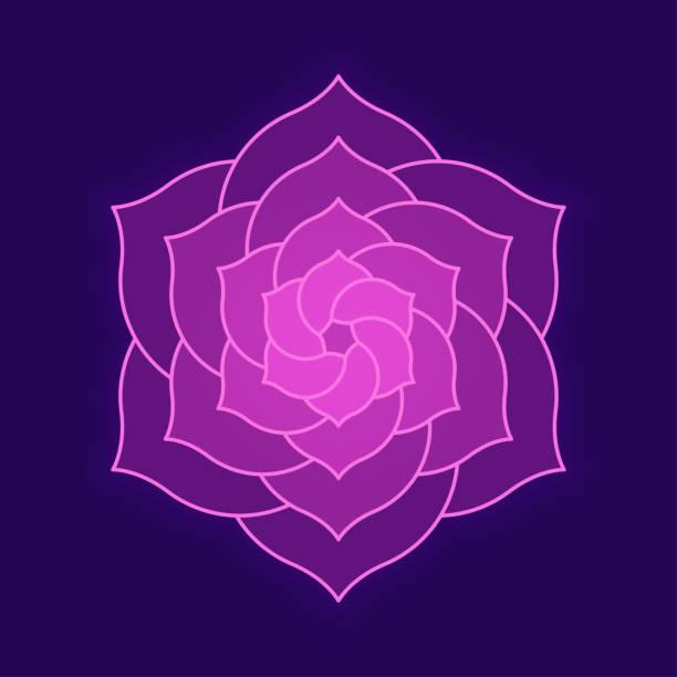 bildbanksillustrationer, clip art samt tecknat material och ikoner med geometriska rosa blomma design - buddhism