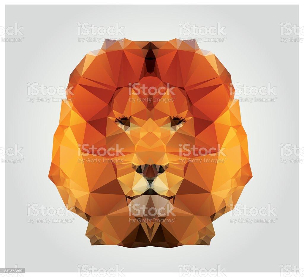 Geometric polygon lion head, triangle pattern vector art illustration