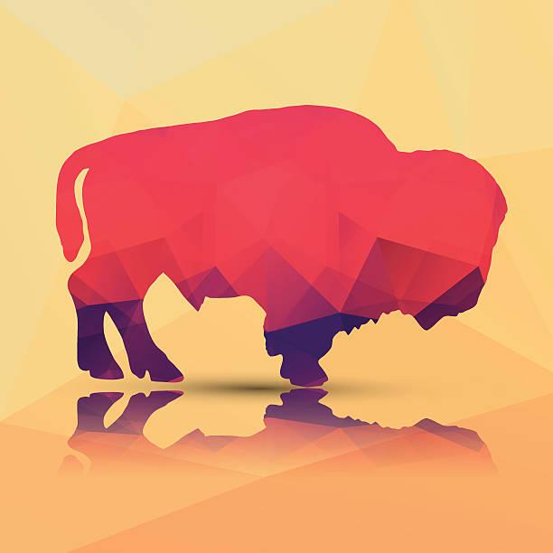 Geometric polygonal buffalo, pattern design, vector illustration Geometric polygonal buffalo, pattern design, vector illustration american bison stock illustrations