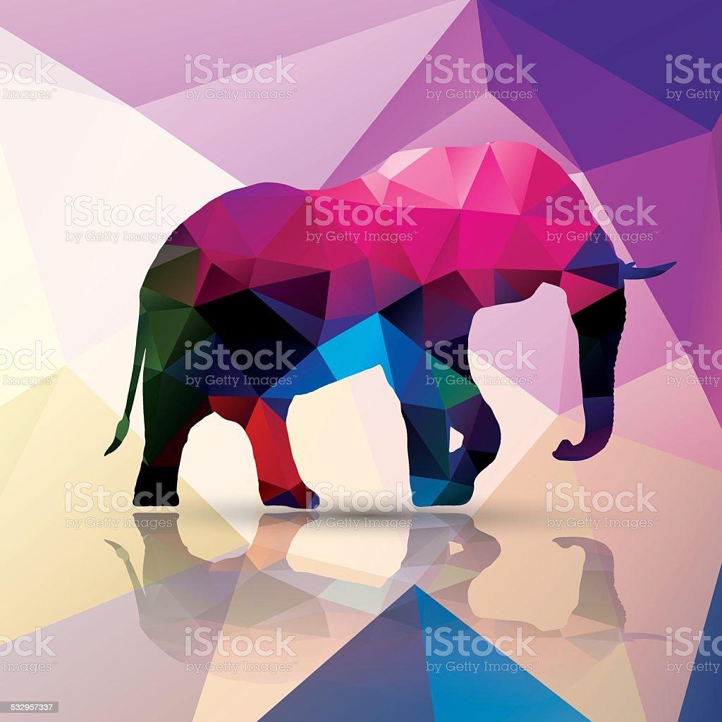 Geometric polygonal elephant, pattern design, vector illustration vector art illustration