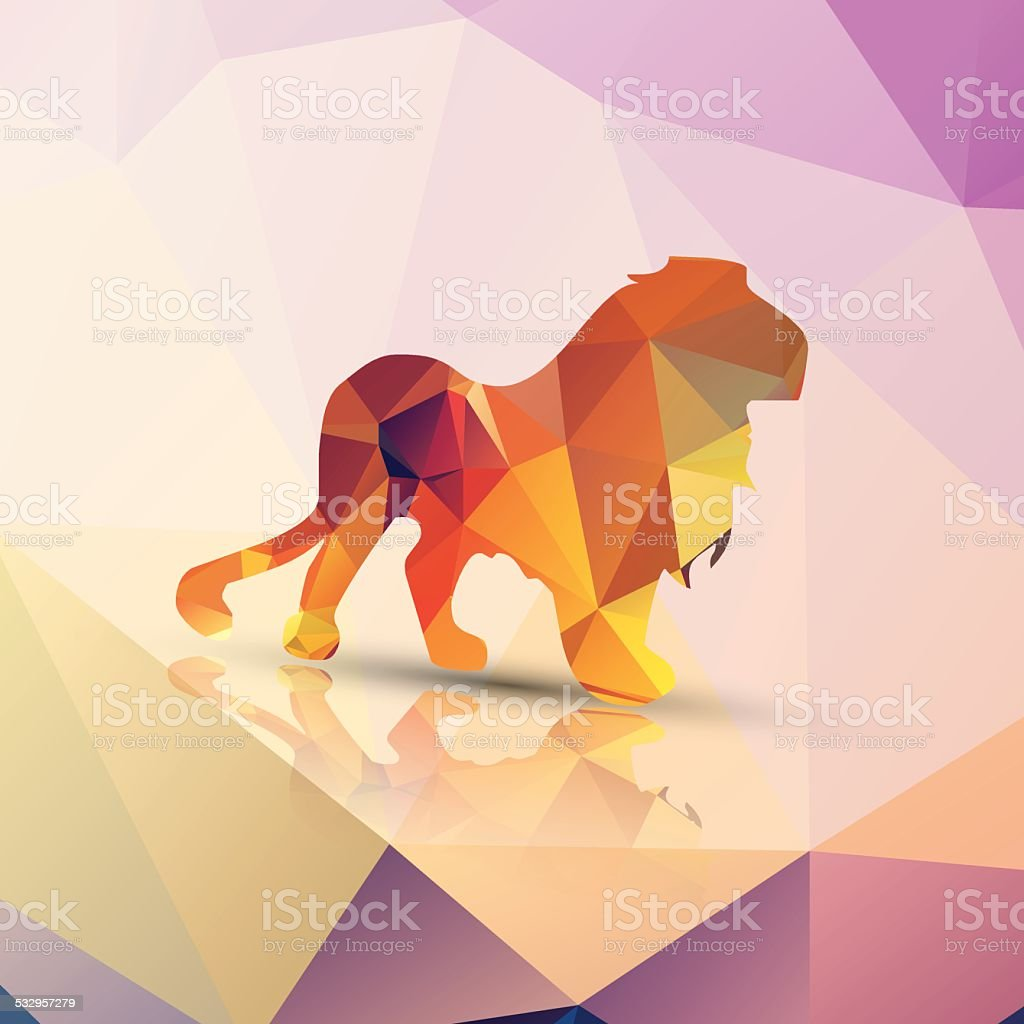 Geometric polygonal lion, pattern design, vector illustration vector art illustration