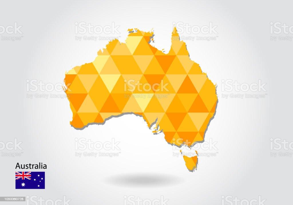Australia Map Shape.Geometric Polygonal Style Vector Map Of Australia Low Poly Map Of
