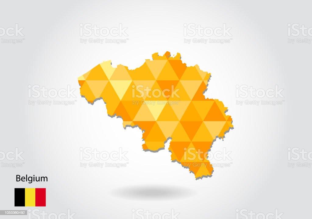 Carte Belgique Eps.Carte De Vecteur Geometrique Style Polygonale De Belgique