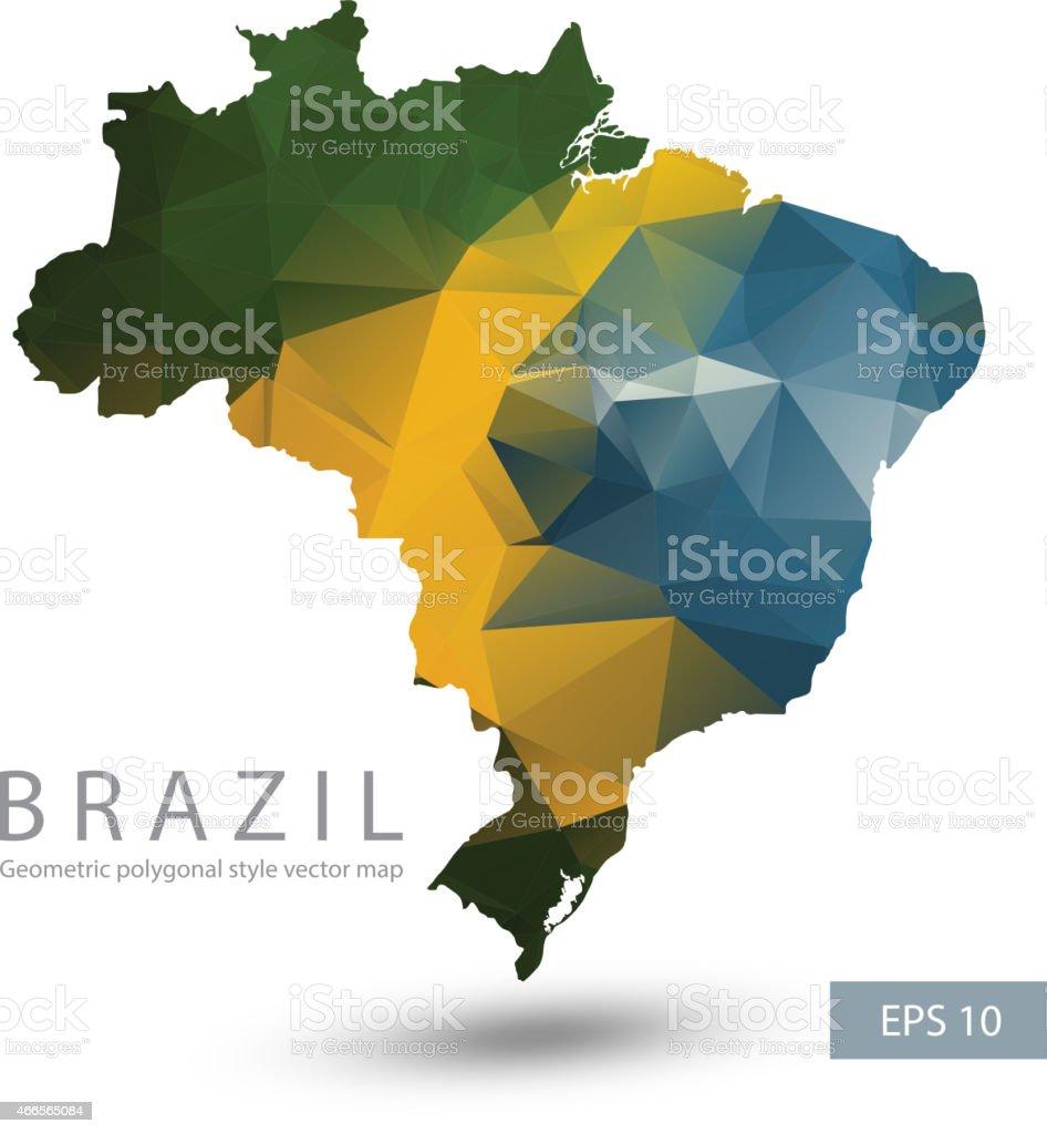 Geometric polygonal style vector map of Brazil vector art illustration