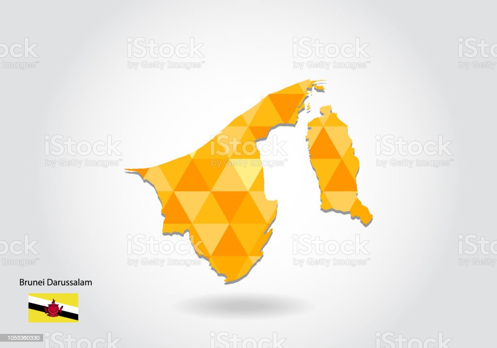 Geometric Polygonal Style Vector Map Of Brunei Darussalam Low Poly ...