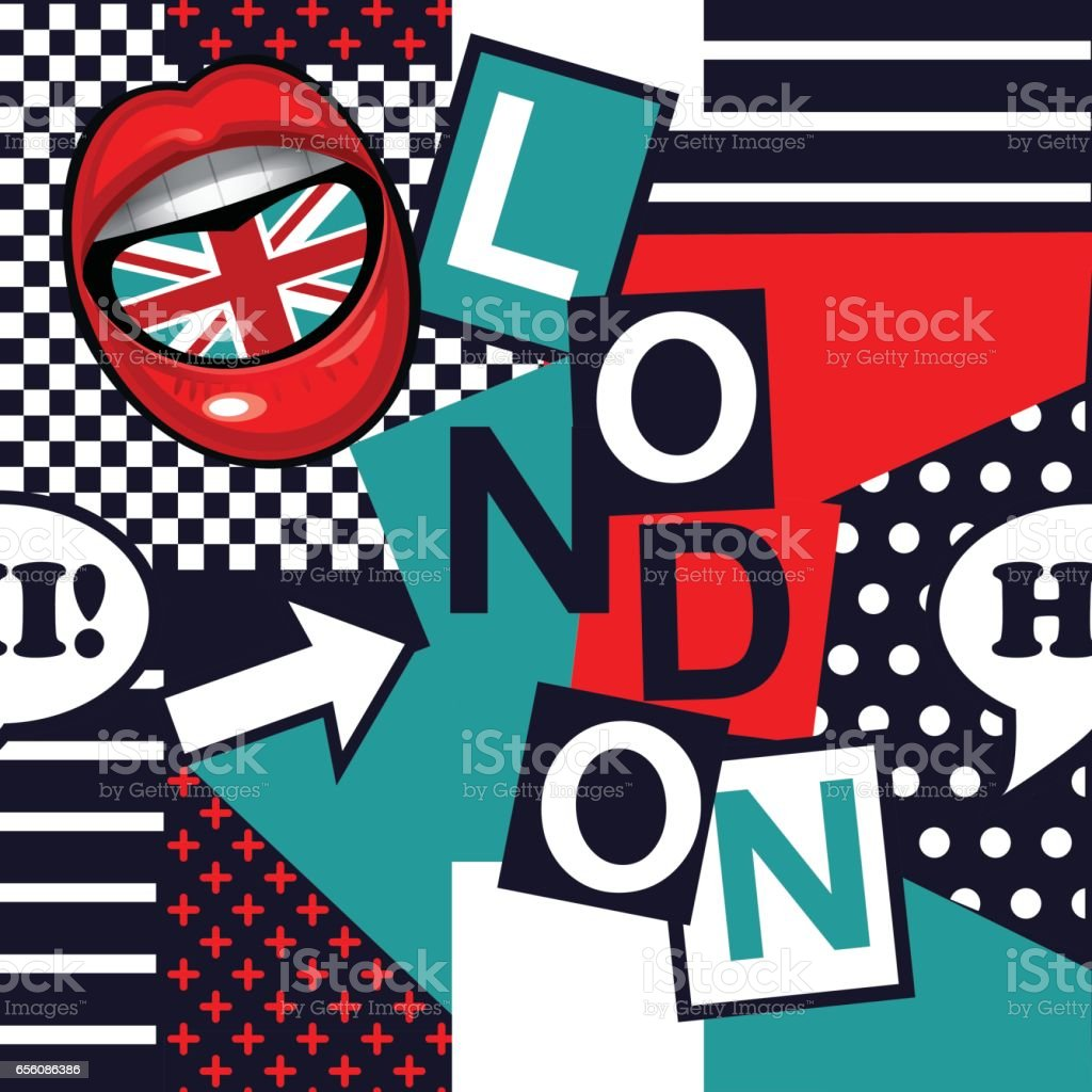 geometric pop art seamless London pattern vector art illustration