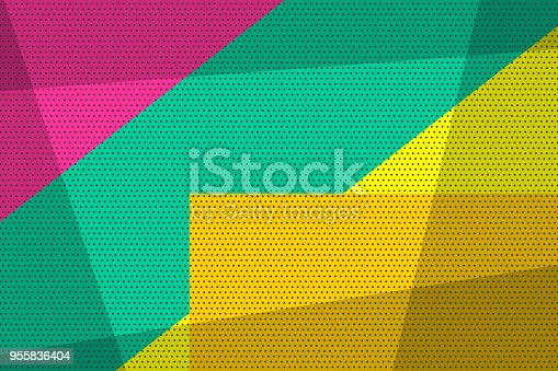 Pop art vintage geometric background. Halftone comic book backdrop old poster. Colored cartoon vector illustration. Retro design template. Graphic texture grunge poster.