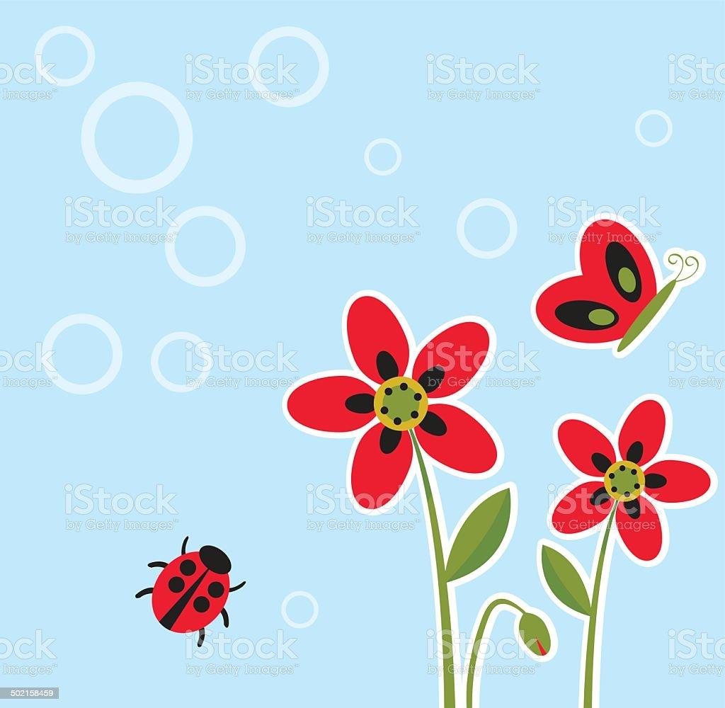 geometric poppies blue vector art illustration