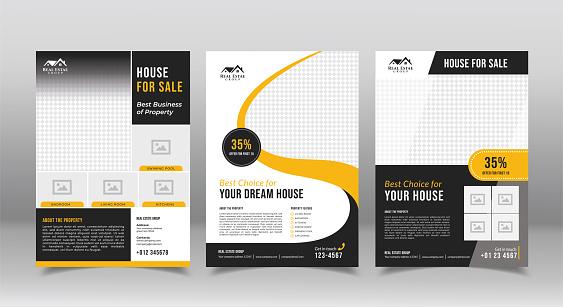 geometric real estate brochure design template. business flyer brochure designs template
