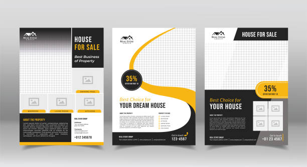 geometric real estate brochure design template. business flyer brochure designs template - flyers templates stock illustrations