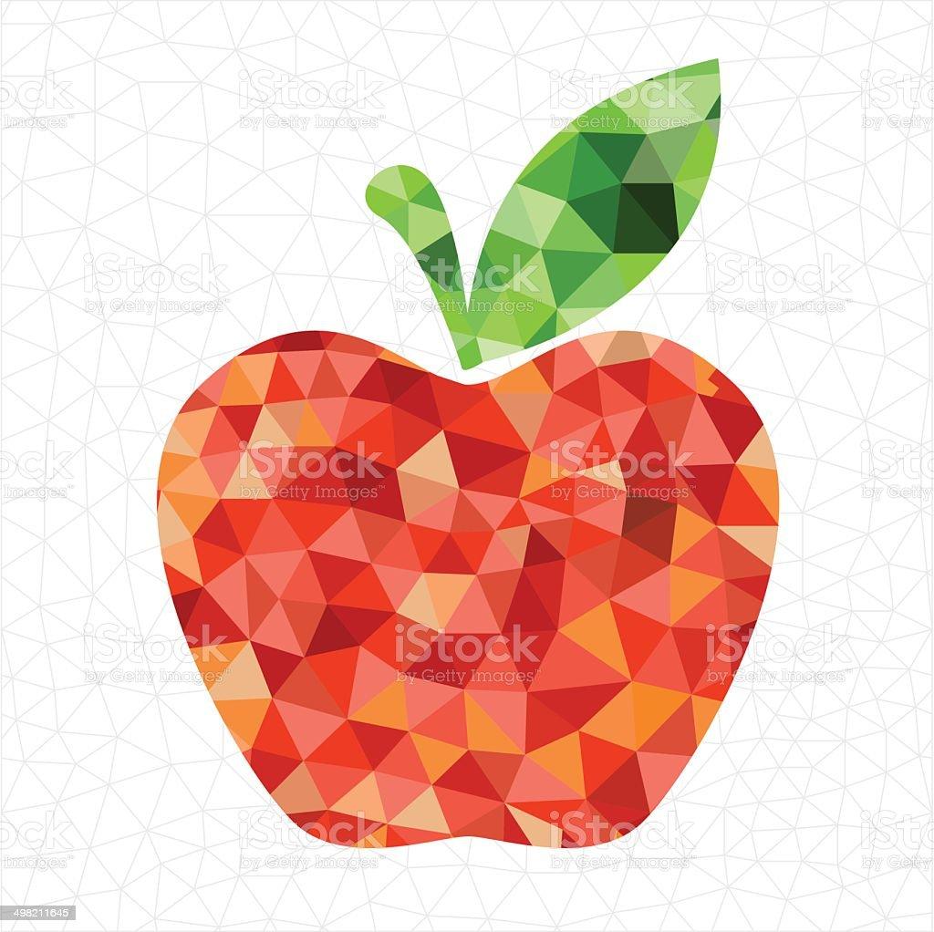Geometric red apple vector art illustration