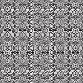 Clean Seamless Geometric Flower pattern black on transparent background.