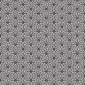 Geometric retro flower pattern black on white