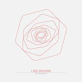 Abstract geometric rose. Vector line art based on simple shapes. Isolated on light background