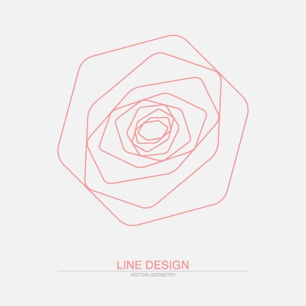 geometrische rose. abstrakte strichzeichnung - rosenpflanzen stock-grafiken, -clipart, -cartoons und -symbole