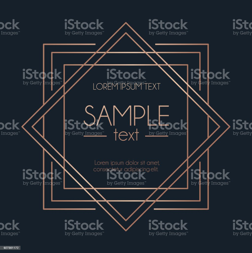Geometric rose gold design card with squares. Modern elegance design for wedding invitation, greeting card, anniversary.. Vector illustration