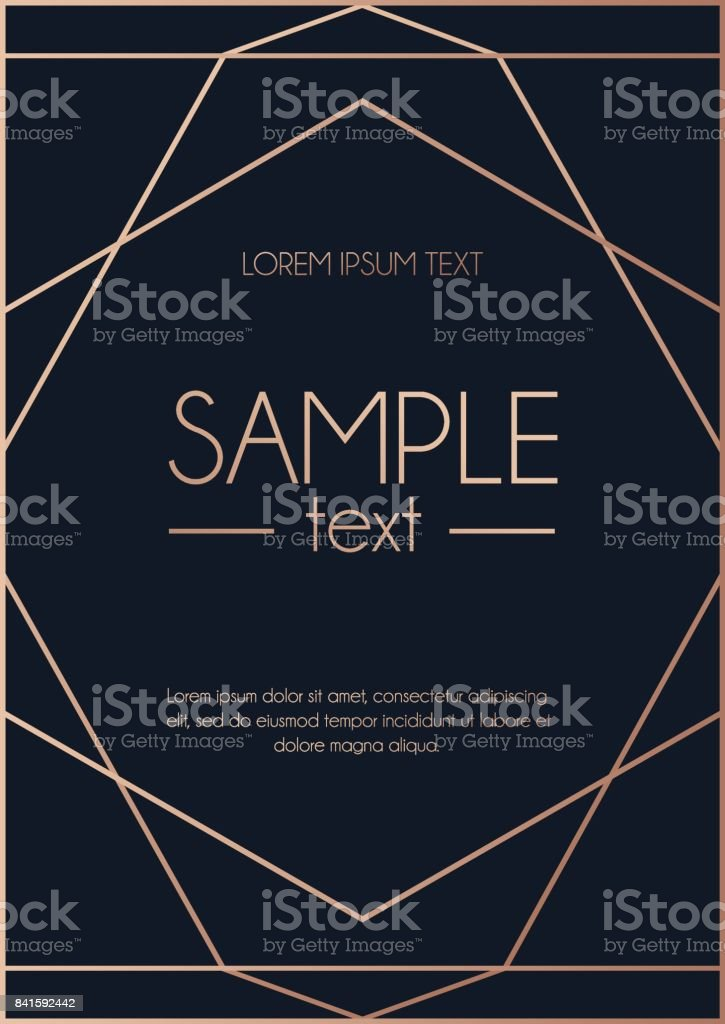 Geometric rose gold design template. Modern design for wedding invitation, greeting card, anniversary. Navy blue background with geometric rose gold circle. Vector illustration vector art illustration