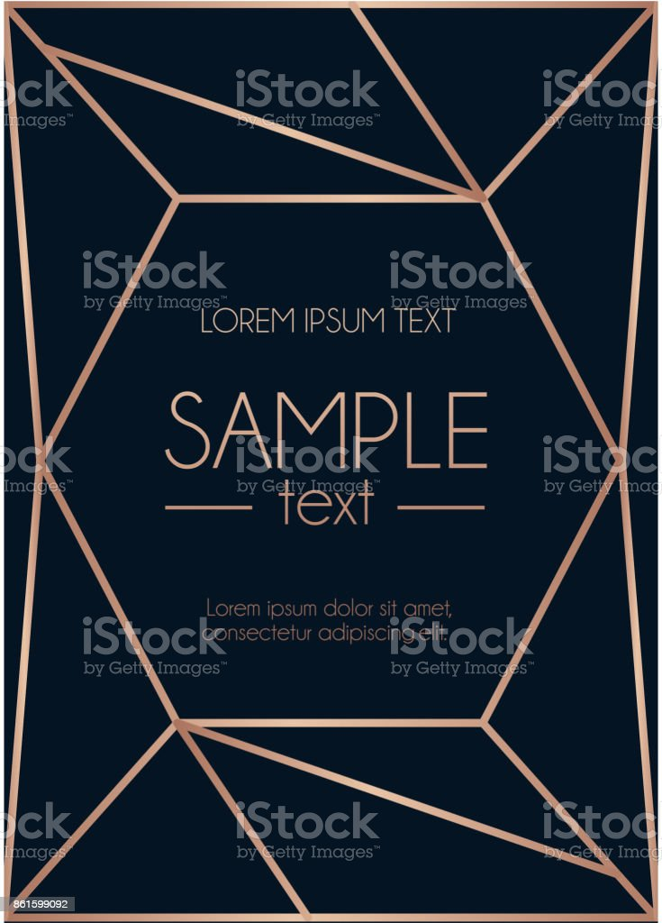 Geometric rose gold design template. Modern design for wedding invitation, greeting card, anniversary. Navy blue background with geometric rose gold abstract shape. Vector illustration vector art illustration