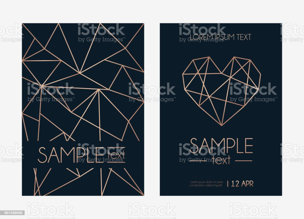 Geometric Rose Gold Design Template Modern Design For Wedding ...