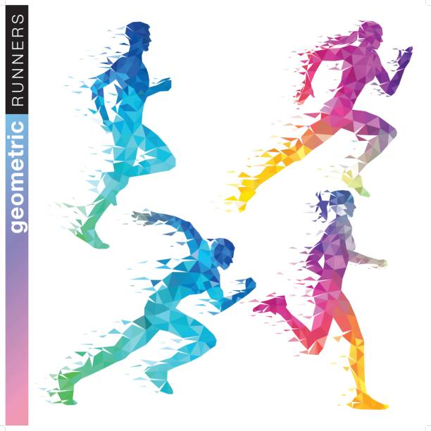 ilustrações de stock, clip art, desenhos animados e ícones de geometric runner set in rainbow colors - running