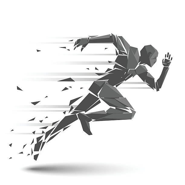 geometric running man - abstract silhouettes stock illustrations