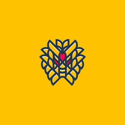 Geometric Samurai Robot Logo Outline