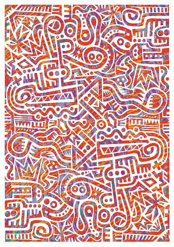 Geometric scribble pattern