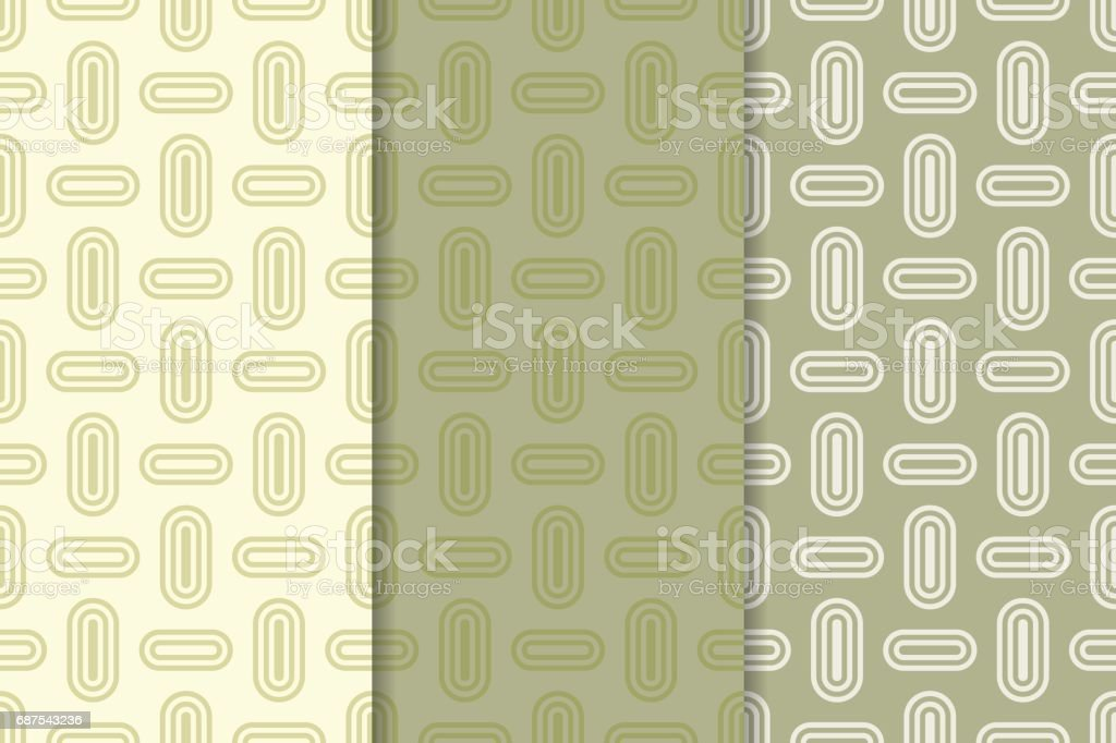 Geometric Seamless Background Olive Green Wallpaper With