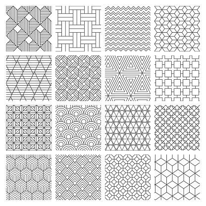 Geometric seamless background. Striped graphics texture, maze decorative pattern, geometric backdrop. Abstract vector background illustration set. Geometric rhombus and zig zag monochrome geometrical