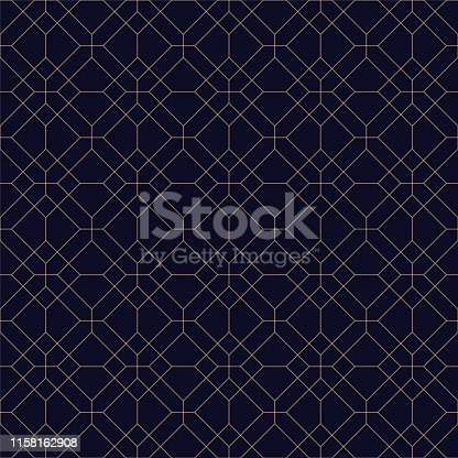 Geometric seamless blue ornamental background. Grid repeatable golden pattern - elegant repetitive design. Rich decorative texture.