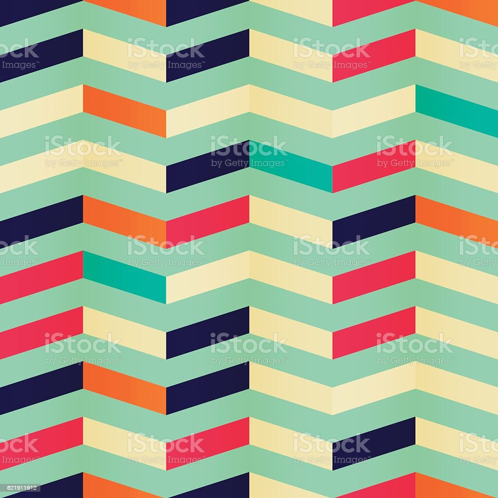 Geometric seamless chevron pattern in retro colors vector art illustration