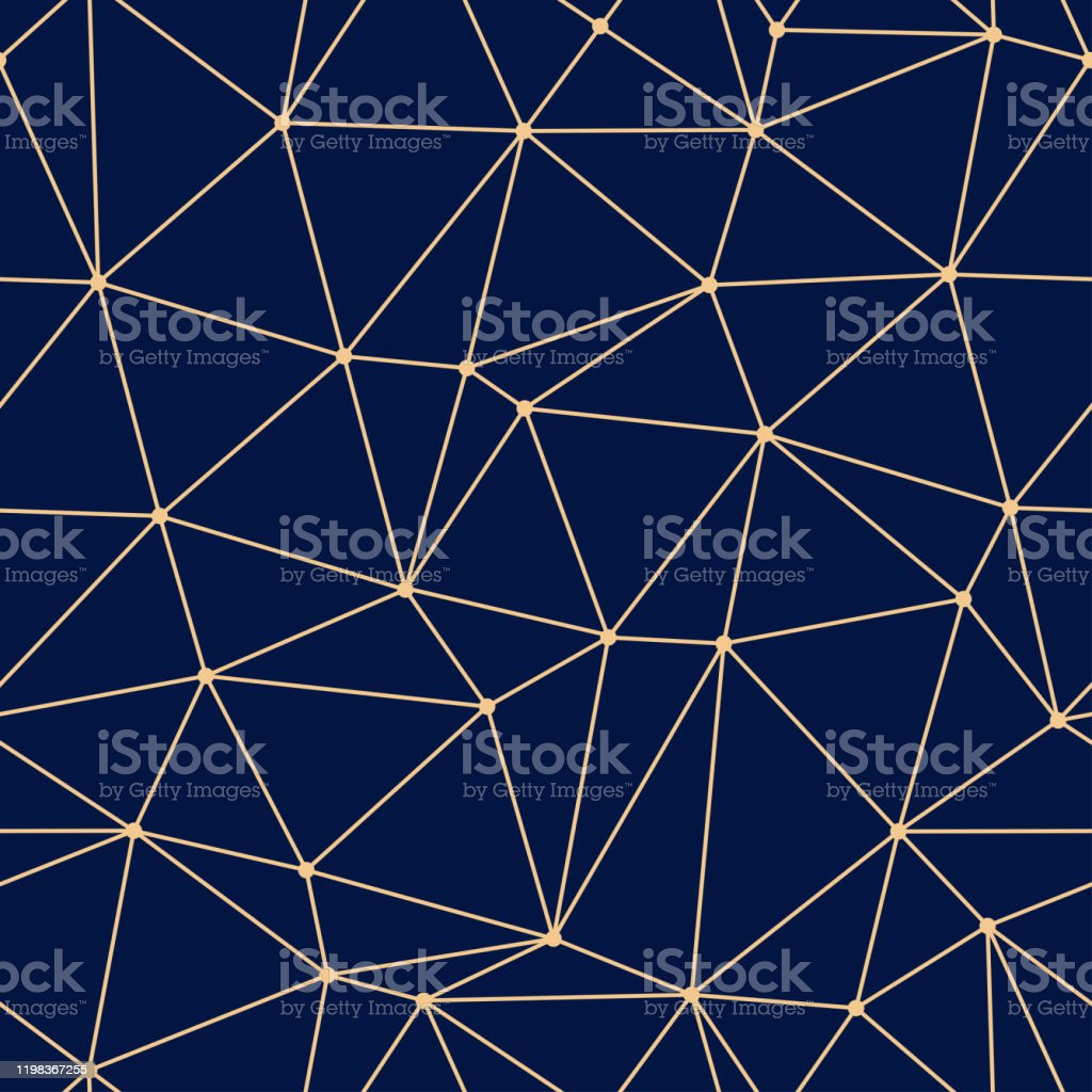 Geometric seamless design. Golden triangle pattern on dark blue background - Векторная графика Без людей роялти-фри