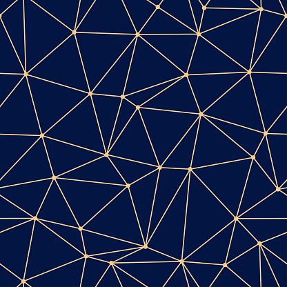 Geometric Seamless Design Golden Triangle Pattern On Dark Blue Background — стоковая векторная графика и другие изображения на тему Без людей
