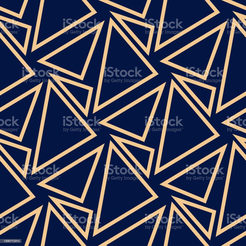 Geometric seamless design. Golden triangle pattern on dark blue background - arte vettoriale royalty-free di Blu scuro
